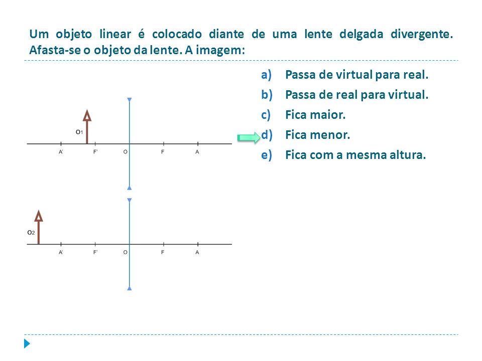 Um objeto linear é colocado diante de uma lente delgada divergente. Afasta-se o objeto da lente. A imagem: a)Passa de virtual para real. b)Passa de re