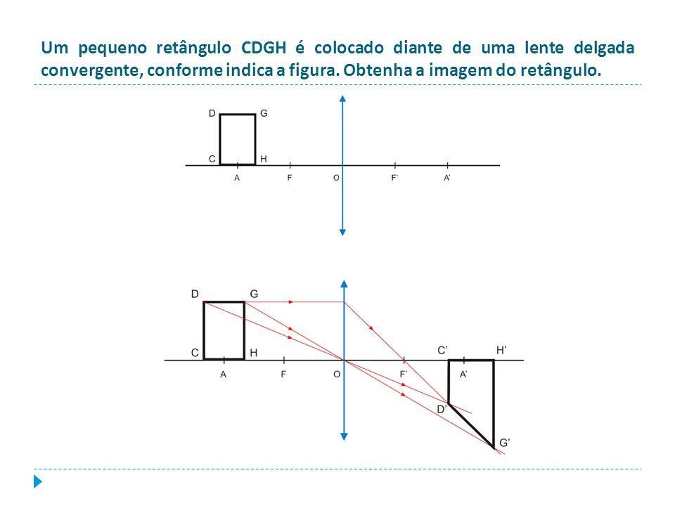 Um pequeno retângulo CDGH é colocado diante de uma lente delgada convergente, conforme indica a figura. Obtenha a imagem do retângulo.