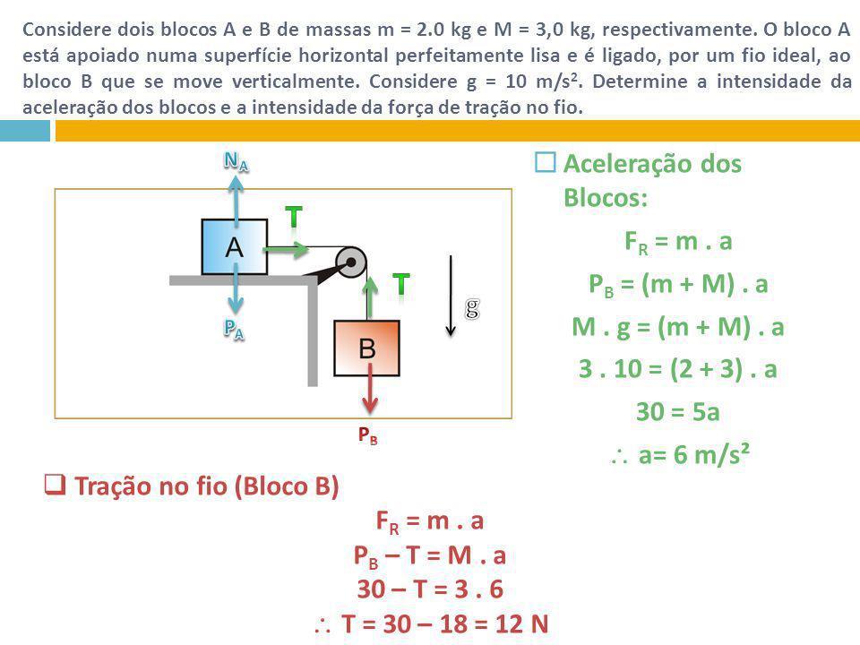 Considere dois blocos A e B de massas m = 2.0 kg e M = 3,0 kg, respectivamente. O bloco A está apoiado numa superfície horizontal perfeitamente lisa e