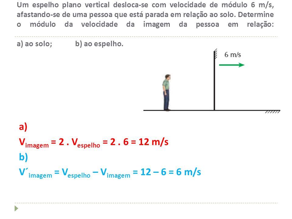 Um espelho plano vertical desloca-se com velocidade de módulo 6 m/s, afastando-se de uma pessoa que está parada em relação ao solo. Determine o módulo