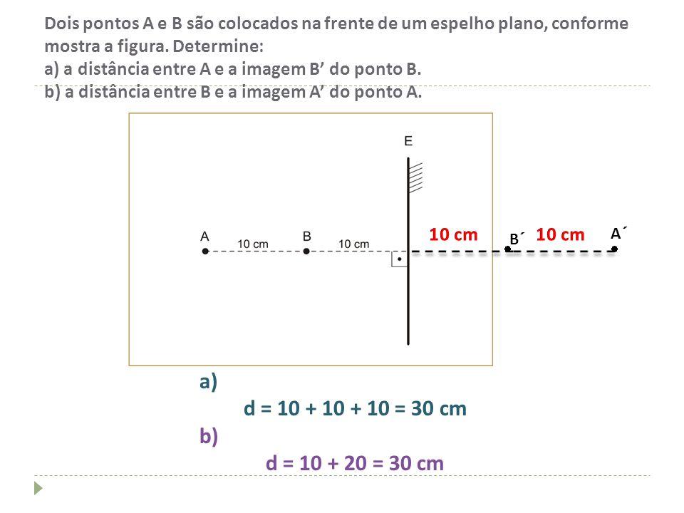 Dois pontos A e B são colocados na frente de um espelho plano, conforme mostra a figura. Determine: a) a distância entre A e a imagem B do ponto B. b)