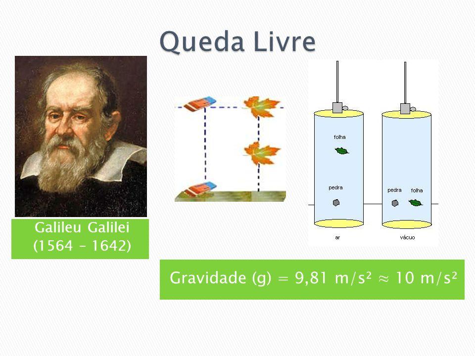 Galileu Galilei (1564 – 1642) Gravidade (g) = 9,81 m/s² 10 m/s²