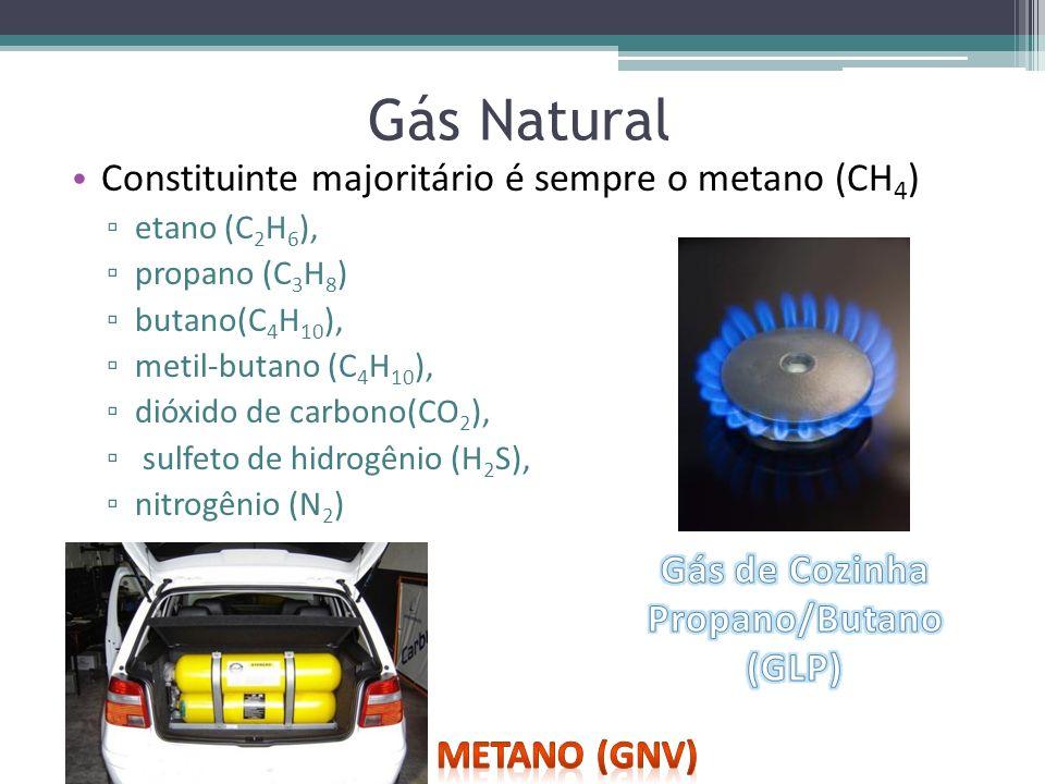 Gás Natural Constituinte majoritário é sempre o metano (CH 4 ) etano (C 2 H 6 ), propano (C 3 H 8 ) butano(C 4 H 10 ), metil-butano (C 4 H 10 ), dióxi