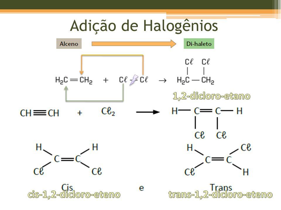 Adição de Halogenidretos Regra de Markownikoff: o H se adiciona ao carbono mais hidrogenado.