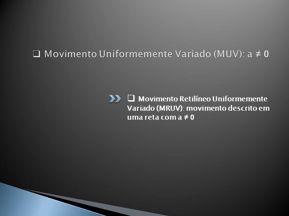 Movimento Retilíneo Uniformemente Variado (MRUV): movimento descrito em uma reta com a 0