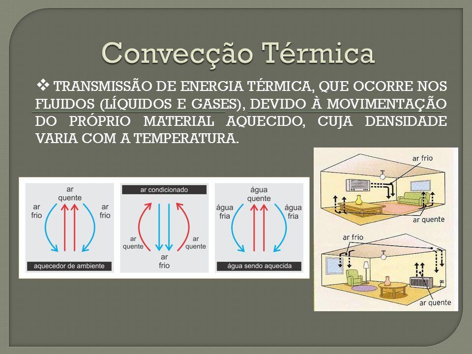 TRANSMISSÃO DE ENERGIA TÉRMICA, QUE OCORRE NOS FLUIDOS (LÍQUIDOS E GASES), DEVIDO À MOVIMENTAÇÃO DO PRÓPRIO MATERIAL AQUECIDO, CUJA DENSIDADE VARIA COM A TEMPERATURA.