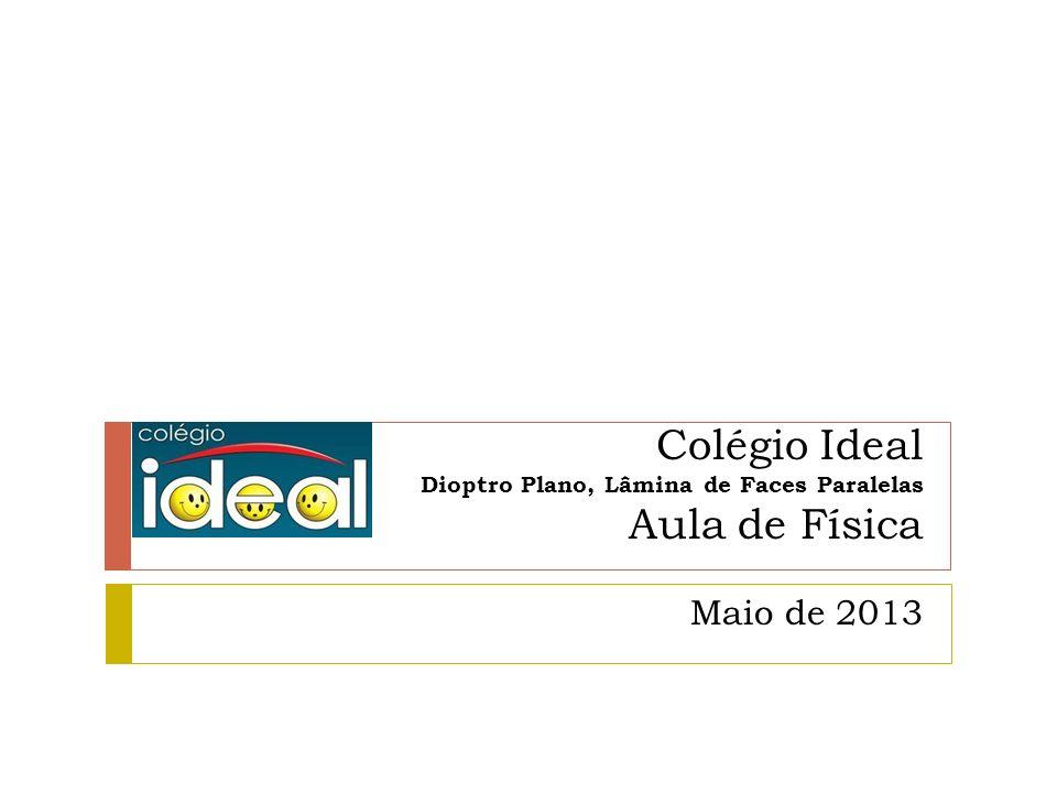 Colégio Ideal Dioptro Plano, Lâmina de Faces Paralelas Aula de Física Maio de 2013