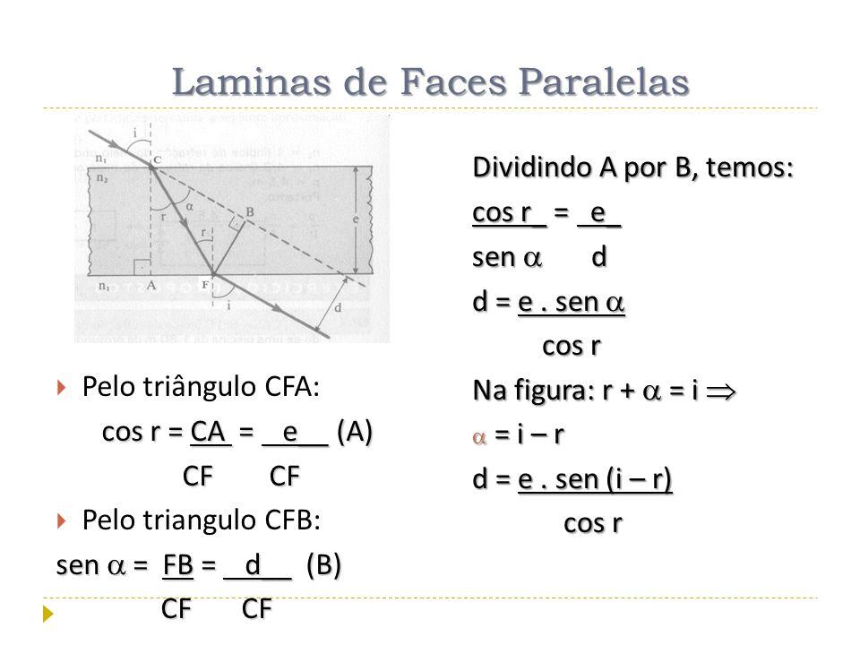 Pelo triângulo CFA: cos r = CA = = = = e e__ (A) CF CF Pelo triangulo CFB: sen = FB = d d__ (B) CF CF Dividindo A por B, temos: cos r_ = e e_ sen d d