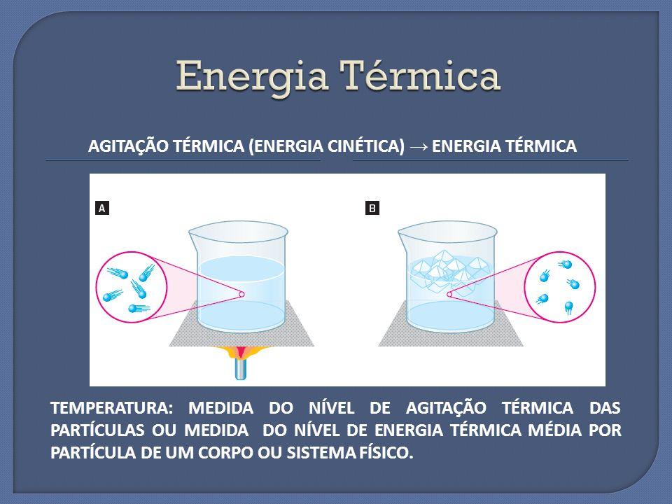 AGITAÇÃO TÉRMICA (ENERGIA CINÉTICA) ENERGIA TÉRMICA TEMPERATURA: MEDIDA DO NÍVEL DE AGITAÇÃO TÉRMICA DAS PARTÍCULAS OU MEDIDA DO NÍVEL DE ENERGIA TÉRM