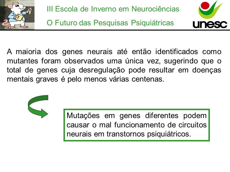 III Escola de Inverno em Neurociências O Futuro das Pesquisas Psiquiátricas A maioria dos genes neurais até então identificados como mutantes foram ob