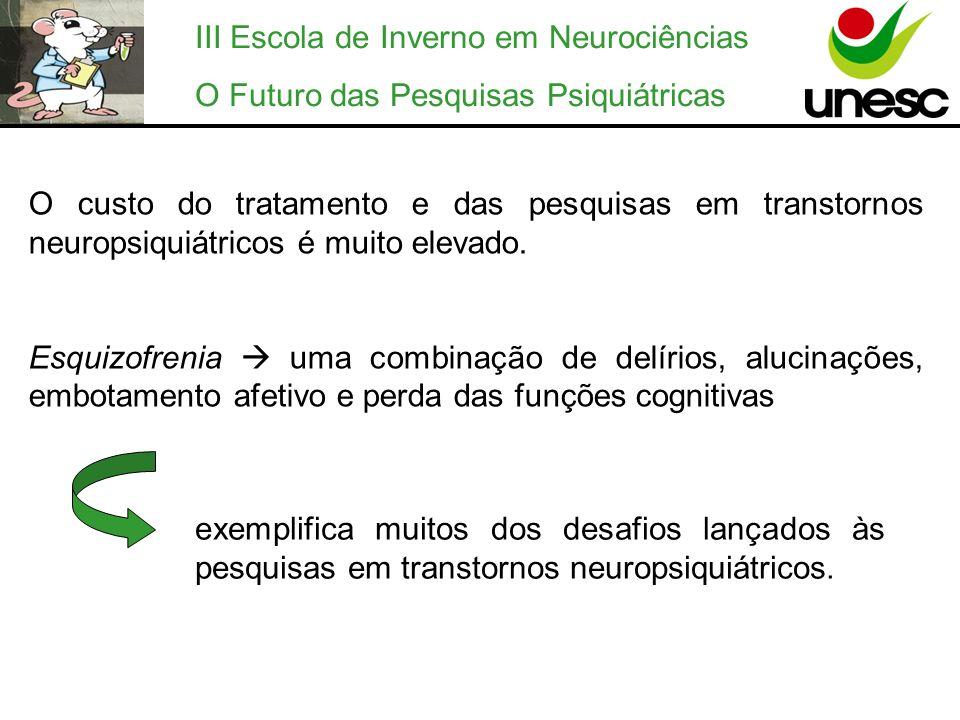 III Escola de Inverno em Neurociências O Futuro das Pesquisas Psiquiátricas O custo do tratamento e das pesquisas em transtornos neuropsiquiátricos é