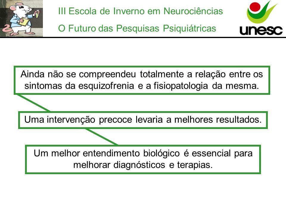 III Escola de Inverno em Neurociências O Futuro das Pesquisas Psiquiátricas Ainda não se compreendeu totalmente a relação entre os sintomas da esquizo