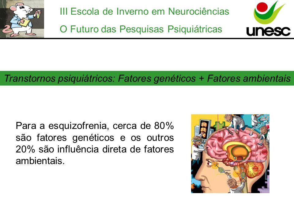 III Escola de Inverno em Neurociências O Futuro das Pesquisas Psiquiátricas Transtornos psiquiátricos: Fatores genéticos + Fatores ambientais Para a e