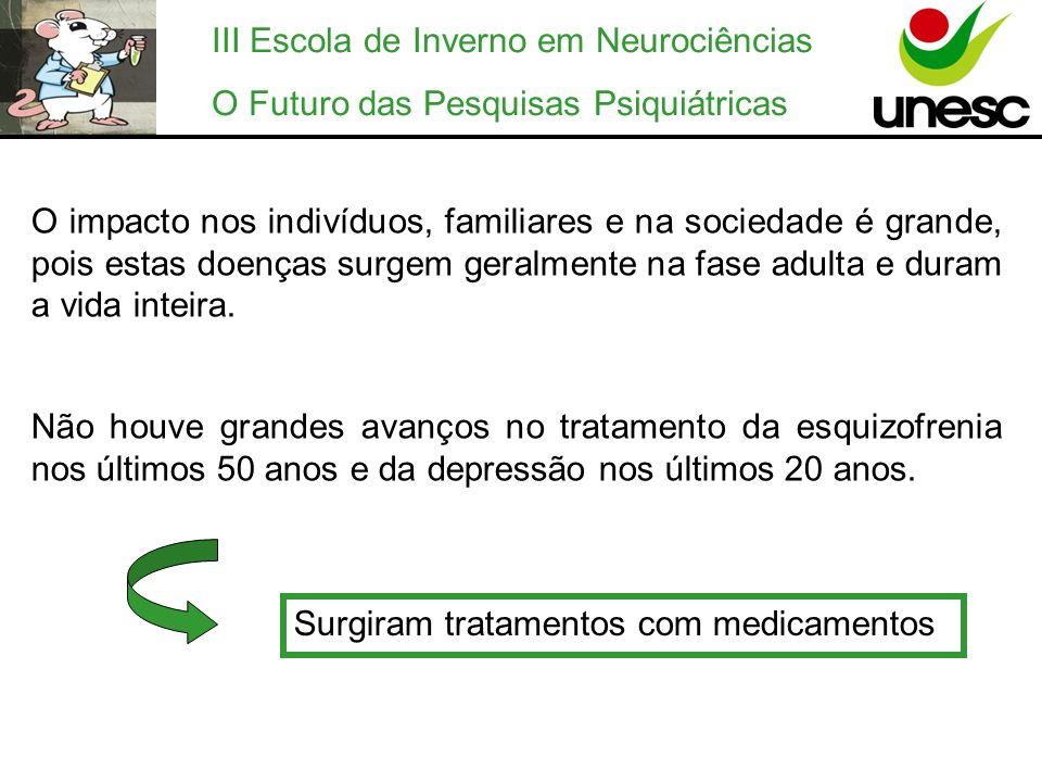 III Escola de Inverno em Neurociências O Futuro das Pesquisas Psiquiátricas Alguns pacientes não toleram ou não respondem adequadamente ao tratamento com determinados medicamentos.