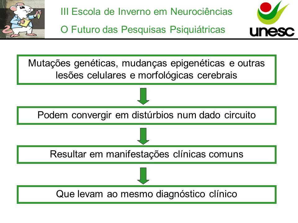 III Escola de Inverno em Neurociências O Futuro das Pesquisas Psiquiátricas A maioria dos genes envolvidos nos principais transtornos psiquiátricos ainda não foram identificados e os modelos animais para estas doenças são limitados.