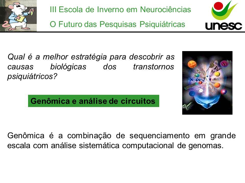 III Escola de Inverno em Neurociências O Futuro das Pesquisas Psiquiátricas Qual é a melhor estratégia para descobrir as causas biológicas dos transto