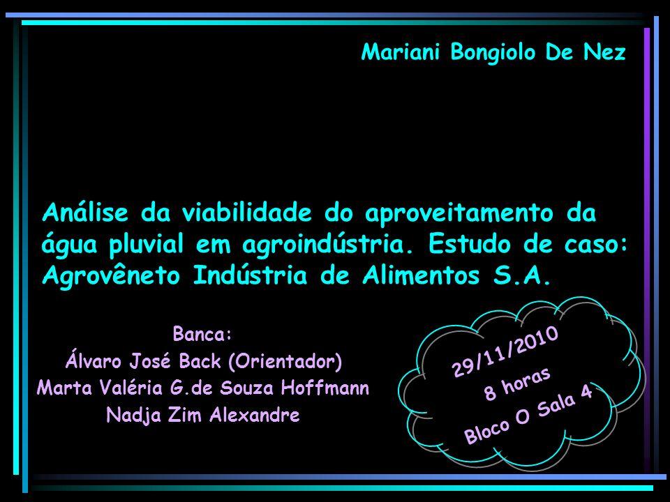 Mariani Bongiolo De Nez Banca: Álvaro José Back (Orientador) Marta Valéria G.de Souza Hoffmann Nadja Zim Alexandre 29/11/2010 8 horas Bloco O Sala 4 A