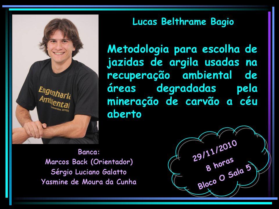 Lucas Belthrame Bagio Banca: Marcos Back (Orientador) Sérgio Luciano Galatto Yasmine de Moura da Cunha 29/11/2010 8 horas Bloco O Sala 5 Metodologia p