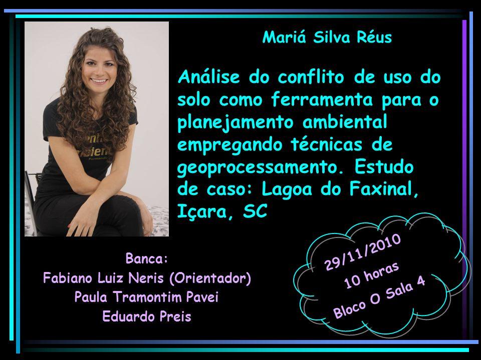 Mariá Silva Réus Banca: Fabiano Luiz Neris (Orientador) Paula Tramontim Pavei Eduardo Preis 29/11/2010 10 horas Bloco O Sala 4 Análise do conflito de