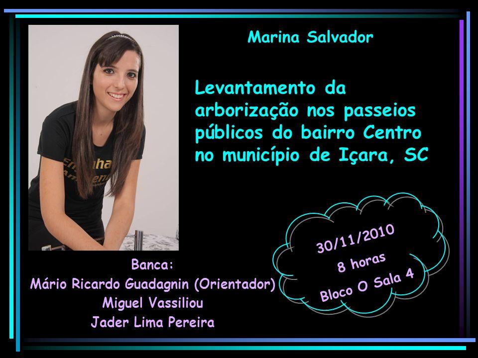 Marina Salvador Banca: Mário Ricardo Guadagnin (Orientador) Miguel Vassiliou Jader Lima Pereira 30/11/2010 8 horas Bloco O Sala 4 Levantamento da arbo
