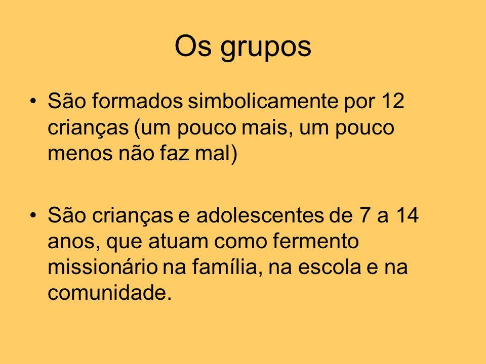 Os grupos São formados simbolicamente por 12 crianças (um pouco mais, um pouco menos não faz mal) São crianças e adolescentes de 7 a 14 anos, que atua