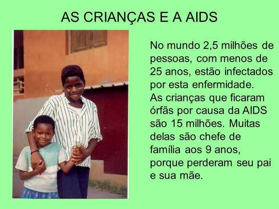 AS CRIANÇAS E A AIDS No mundo 2,5 milhões de pessoas, com menos de 25 anos, estão infectados por esta enfermidade. As crianças que ficaram órfãs por c