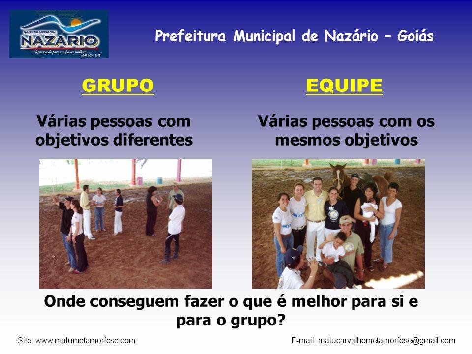 Prefeitura Municipal de Nazário – Goiás Site: www.malumetamorfose.com E-mail: malucarvalhometamorfose@gmail.com GRUPO Várias pessoas com objetivos dif