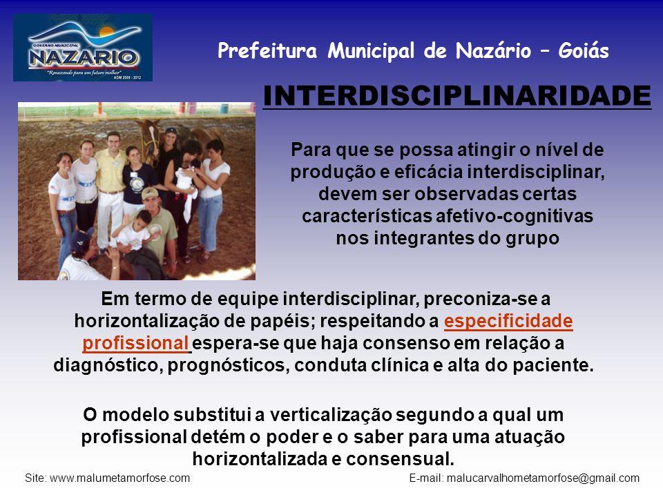 Prefeitura Municipal de Nazário – Goiás Site: www.malumetamorfose.com E-mail: malucarvalhometamorfose@gmail.com INTERDISCIPLINARIDADE Para que se poss