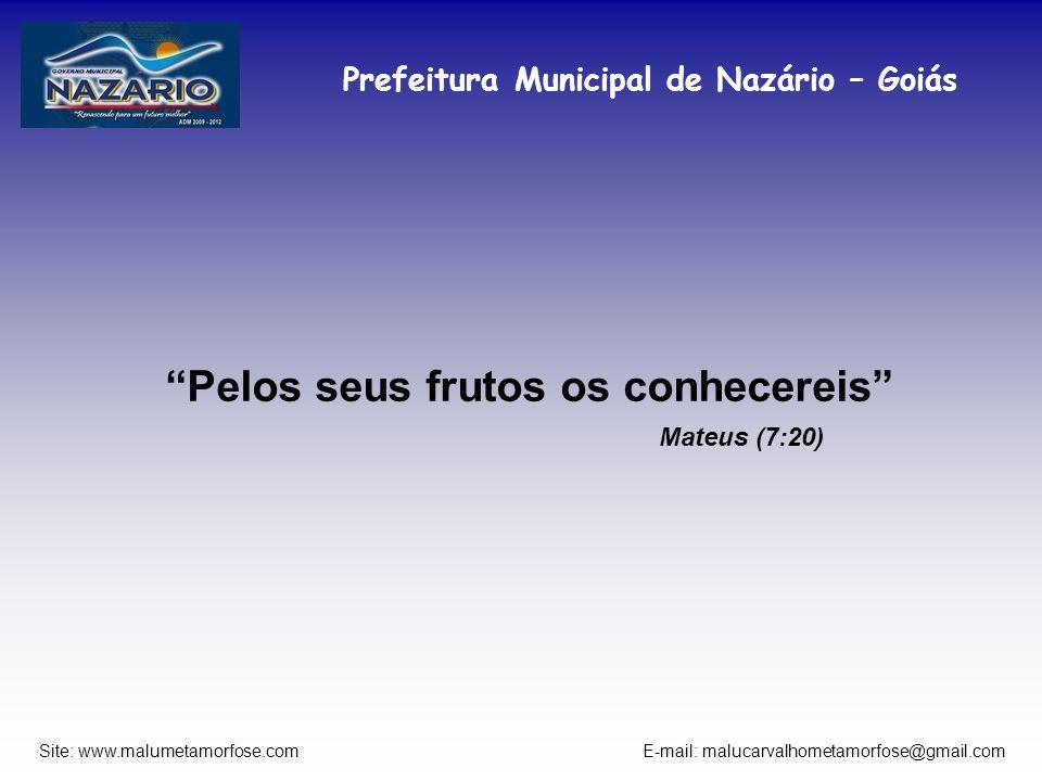 Prefeitura Municipal de Nazário – Goiás Site: www.malumetamorfose.com E-mail: malucarvalhometamorfose@gmail.com Pelos seus frutos os conhecereis Mateu