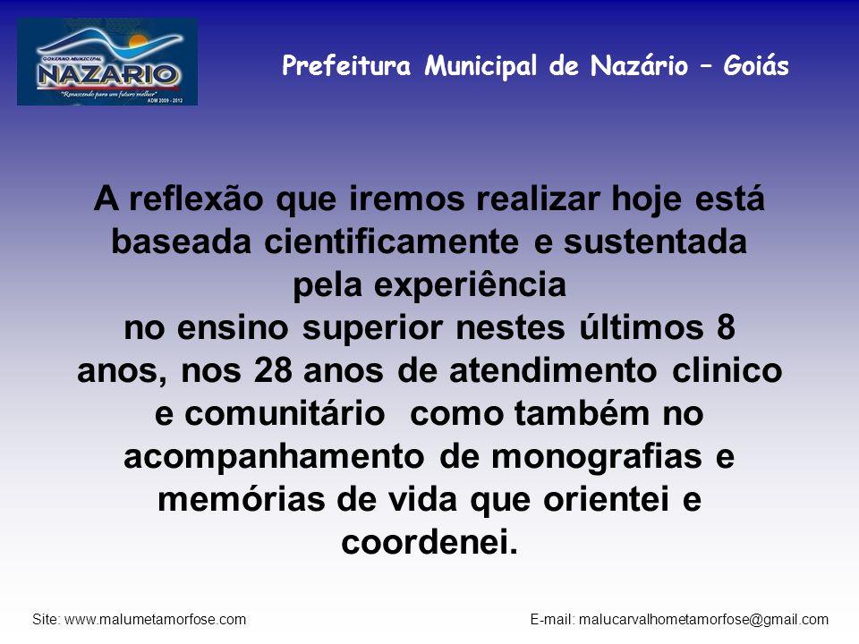 Prefeitura Municipal de Nazário – Goiás Site: www.malumetamorfose.com E-mail: malucarvalhometamorfose@gmail.com A reflexão que iremos realizar hoje es