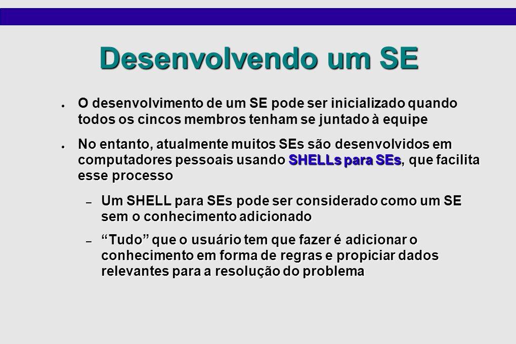Desenvolvendo um SE O desenvolvimento de um SE pode ser inicializado quando todos os cincos membros tenham se juntado à equipe No entanto, atualmente