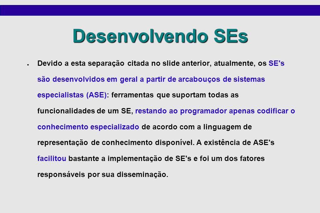Desenvolvendo SEs Devido a esta separação citada no slide anterior, atualmente, os SE's são desenvolvidos em geral a partir de arcabouços de sistemas