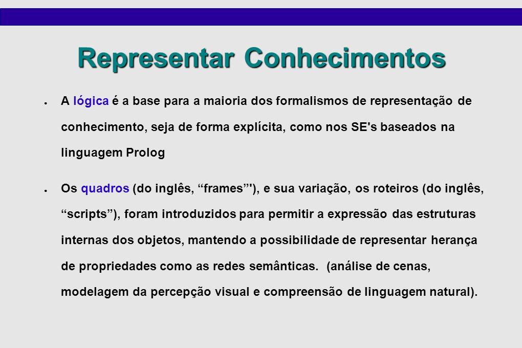 Representar Conhecimentos A lógica é a base para a maioria dos formalismos de representação de conhecimento, seja de forma explícita, como nos SE's ba