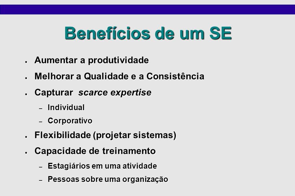 Benefícios de um SE Aumentar a produtividade Aumentar a produtividade Melhorar a Qualidade e a Consistência Melhorar a Qualidade e a Consistência Capt