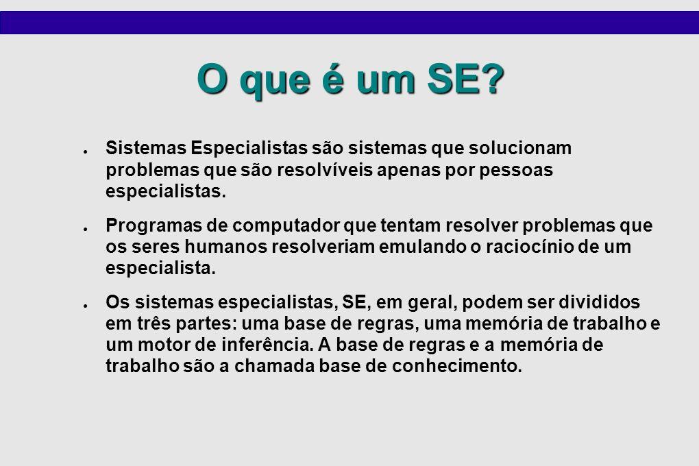 O que é um SE? Sistemas Especialistas são sistemas que solucionam problemas que são resolvíveis apenas por pessoas especialistas. Programas de computa