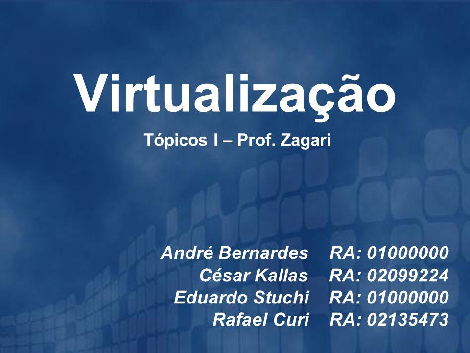 Virtualização André Bernardes RA: 01000000 César Kallas RA: 02099224 Eduardo Stuchi RA: 01000000 Rafael Curi RA: 02135473 Tópicos I – Prof. Zagari