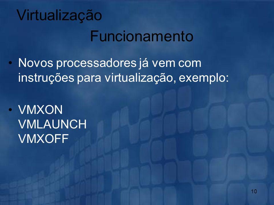 10 Novos processadores já vem com instruções para virtualização, exemplo: VMXON VMLAUNCH VMXOFF Virtualização Funcionamento