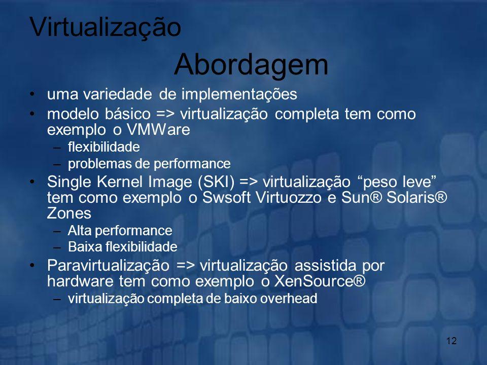 12 uma variedade de implementações modelo básico => virtualização completa tem como exemplo o VMWare –flexibilidade –problemas de performance Single K