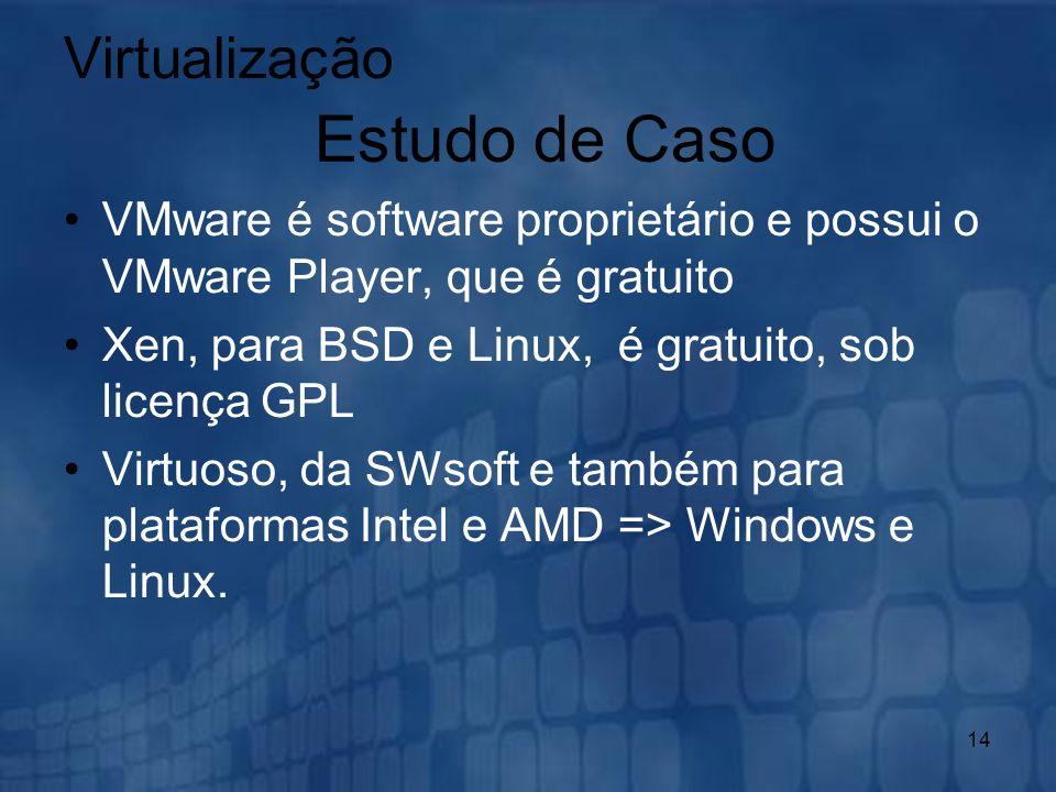 14 VMware é software proprietário e possui o VMware Player, que é gratuito Xen, para BSD e Linux, é gratuito, sob licença GPL Virtuoso, da SWsoft e ta