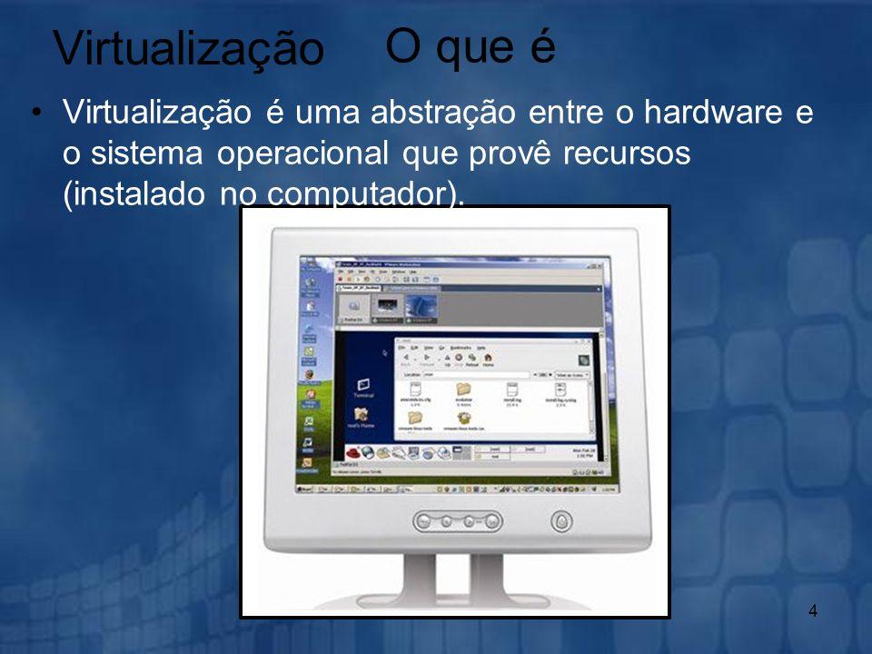 4 Virtualização Virtualização é uma abstração entre o hardware e o sistema operacional que provê recursos (instalado no computador). O que é