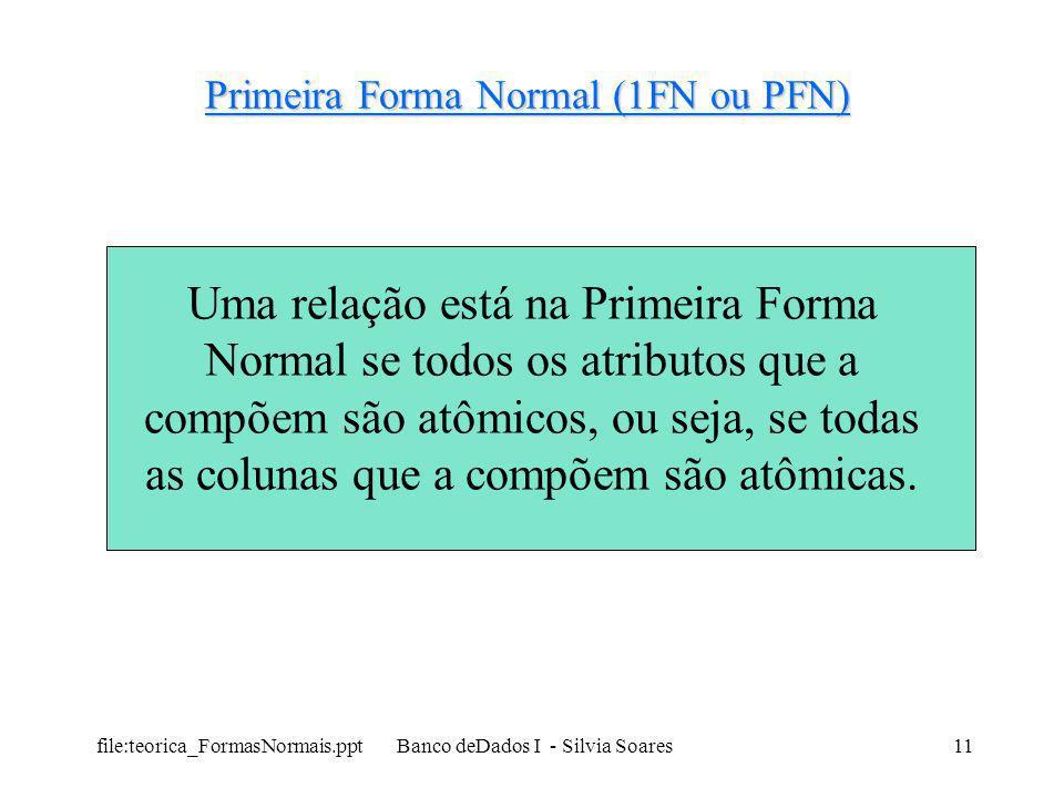 file:teorica_FormasNormais.ppt Banco deDados I - Silvia Soares11 Primeira Forma Normal (1FN ou PFN) Uma relação está na Primeira Forma Normal se todos