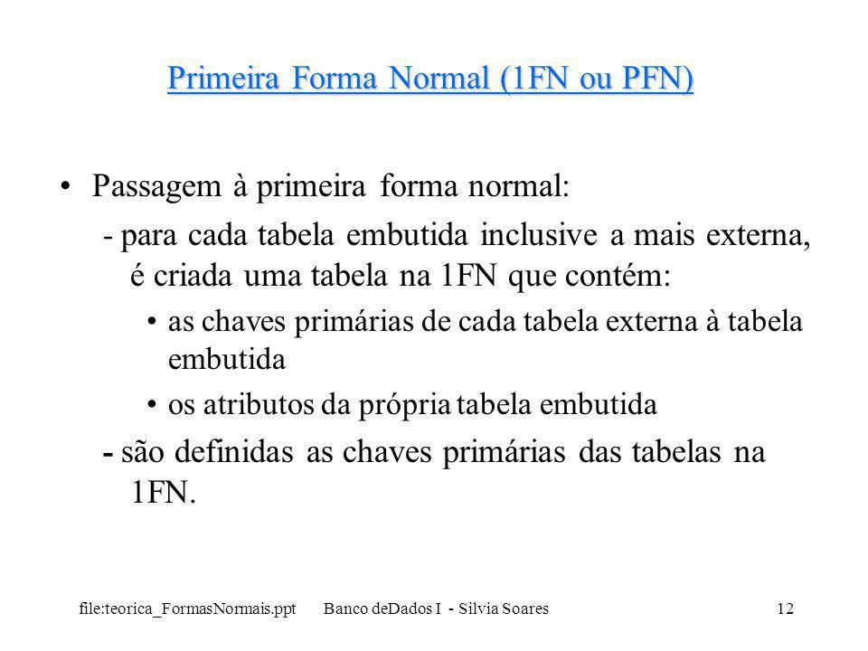 file:teorica_FormasNormais.ppt Banco deDados I - Silvia Soares12 Primeira Forma Normal (1FN ou PFN) Passagem à primeira forma normal: - para cada tabe