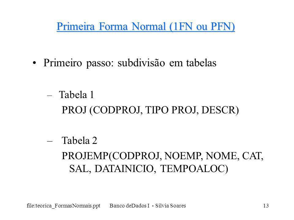 file:teorica_FormasNormais.ppt Banco deDados I - Silvia Soares13 Primeira Forma Normal (1FN ou PFN) Primeiro passo: subdivisão em tabelas – Tabela 1 P
