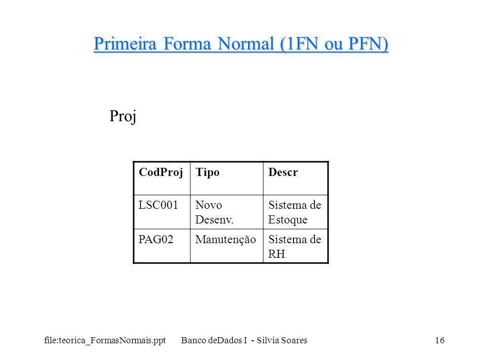 file:teorica_FormasNormais.ppt Banco deDados I - Silvia Soares16 Primeira Forma Normal (1FN ou PFN) CodProjTipoDescr LSC001Novo Desenv. Sistema de Est
