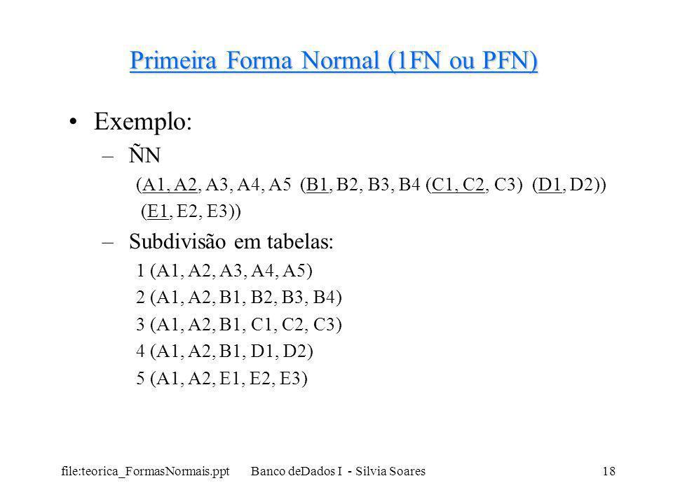 file:teorica_FormasNormais.ppt Banco deDados I - Silvia Soares18 Primeira Forma Normal (1FN ou PFN) Exemplo: – ÑN (A1, A2, A3, A4, A5 (B1, B2, B3, B4