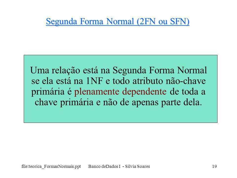 file:teorica_FormasNormais.ppt Banco deDados I - Silvia Soares19 Segunda Forma Normal (2FN ou SFN) Uma relação está na Segunda Forma Normal se ela est