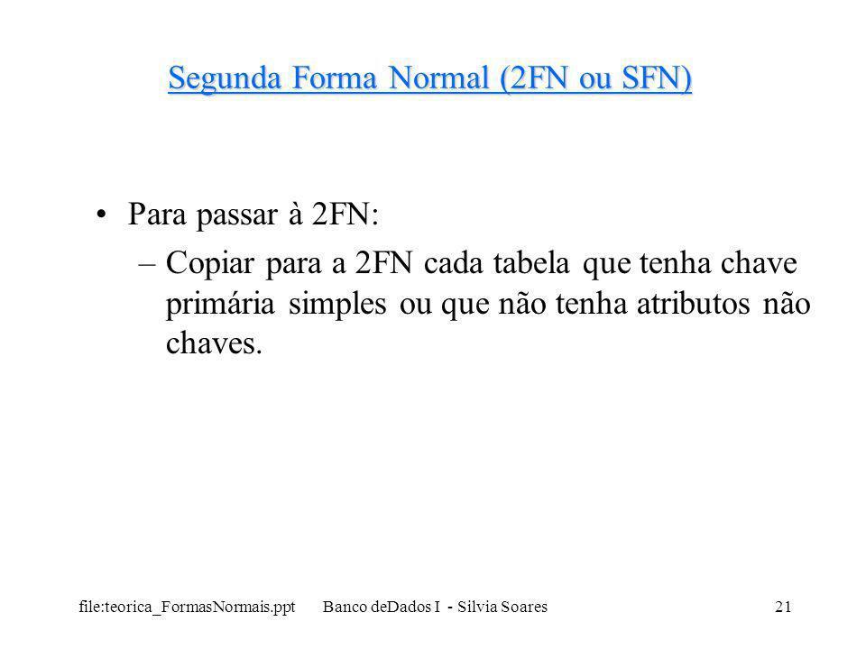 file:teorica_FormasNormais.ppt Banco deDados I - Silvia Soares21 Segunda Forma Normal (2FN ou SFN) Para passar à 2FN: –Copiar para a 2FN cada tabela q