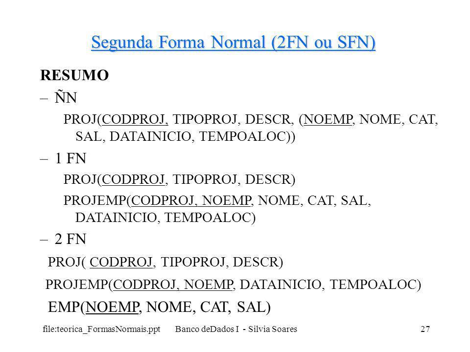 file:teorica_FormasNormais.ppt Banco deDados I - Silvia Soares27 Segunda Forma Normal (2FN ou SFN) RESUMO –ÑN PROJ(CODPROJ, TIPOPROJ, DESCR, (NOEMP, N