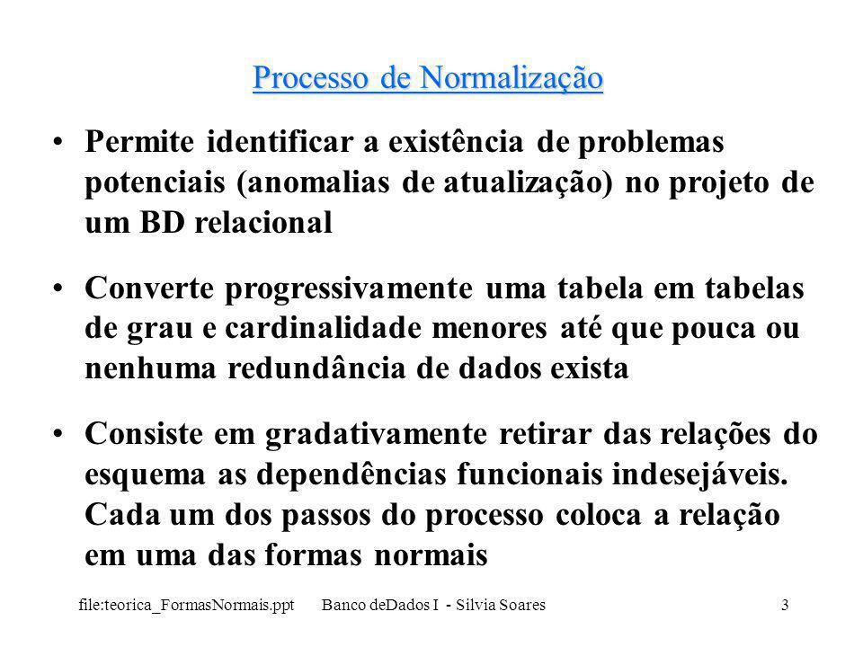 file:teorica_FormasNormais.ppt Banco deDados I - Silvia Soares24 Segunda Forma Normal (2FN ou SFN) Tabela 2 –1FN PROJEMP(CODPROJ, NOEMP, NOME, CAT, SAL, DATAINICIO, TEMPOALOC) –2FN Nome: depende apenas de parte da chave (NOEMP) Cat: depende apenas de parte da chave (NOEMP) Sal: depende apenas de parte da chave (NOEMP) Datainicio depende de toda a chave (inicio do emp no projeto) tempoaloc depende de toda a chave (tempo do emp no projeto) PROJEMP(CODPROJ, NOEMP, DATAINICIO, TEMPOALOC) EMP(NOEMP, NOME, CAT, SAL)