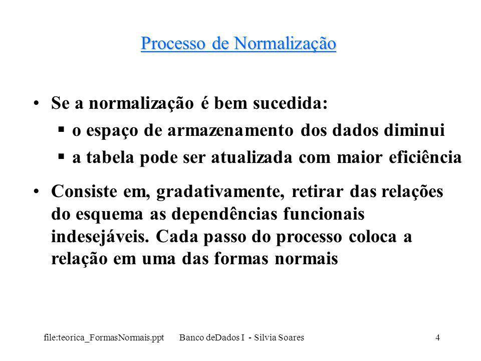 file:teorica_FormasNormais.ppt Banco deDados I - Silvia Soares5 Processo de Normalização Cada passo do processo considera determinados aspectos Uma forma normal é um conjunto de regras que uma tabela deve obedecer, que destinam-se a eliminar as redundâncias de dados